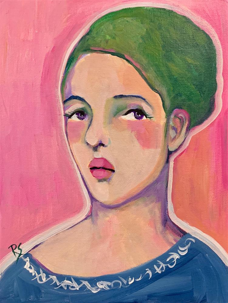 """#16 The Girl with Purple Eyes"" original fine art by Roberta Schmidt ArtcyLucy"