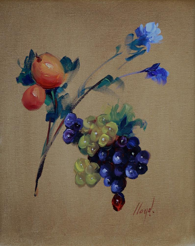 """One Blue Flower and One Red Grape"" original fine art by Diane Lloyd"