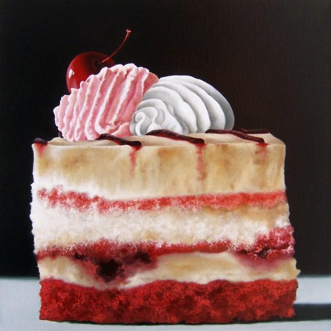 """Red Berry Cake"" original fine art by Jelaine Faunce"