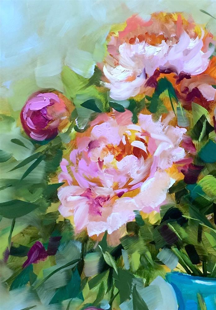 """""""Hope Blooms Pink Peonies, detail"""" original fine art by Nancy Medina"""