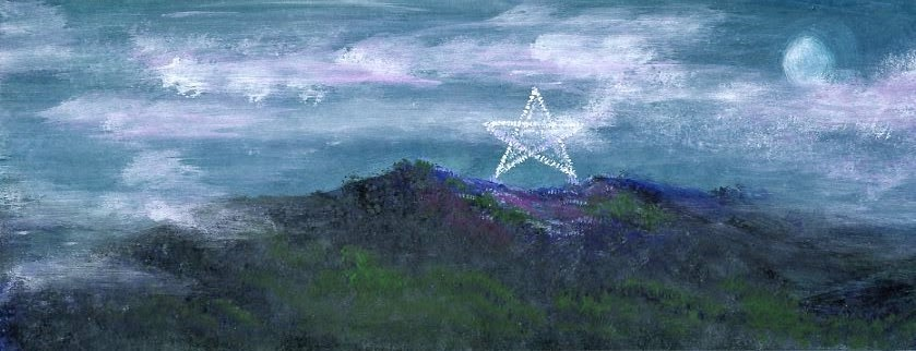 """ORIGINAL PAINTING OF MILL MOUNTAIN WITH STAR AND MOON"" original fine art by Sue Furrow"