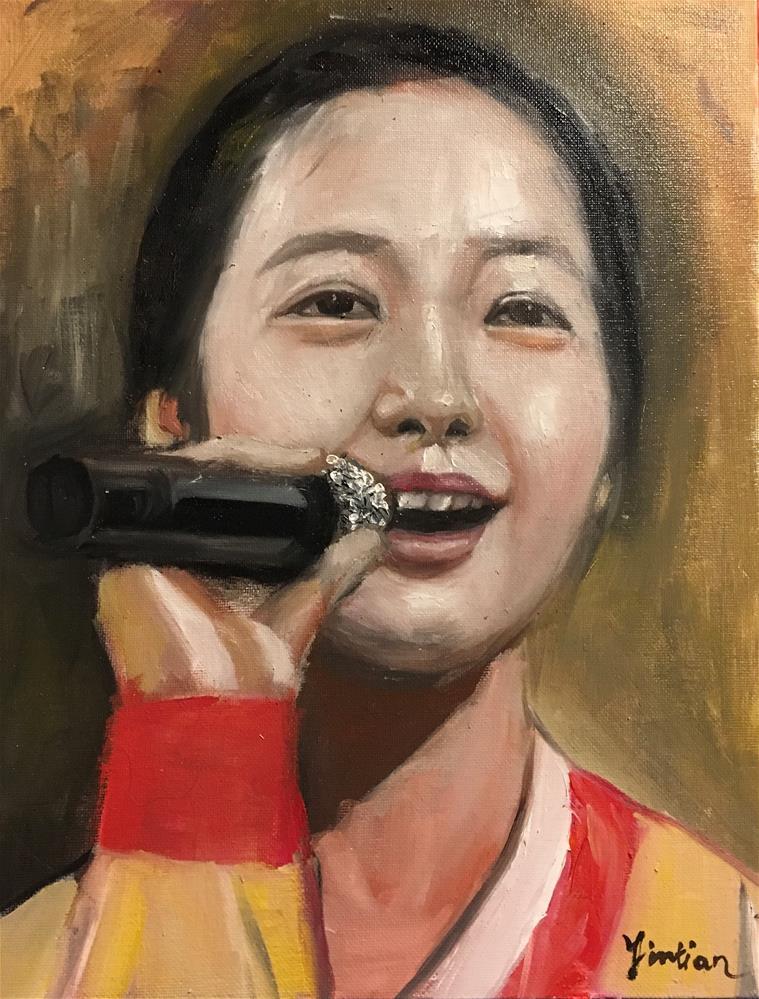 """North Korean girl "" original fine art by tian yin"