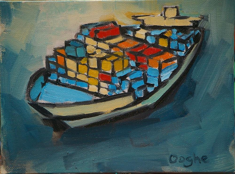 """""""Container Ship 3"""" original fine art by Angela Ooghe"""