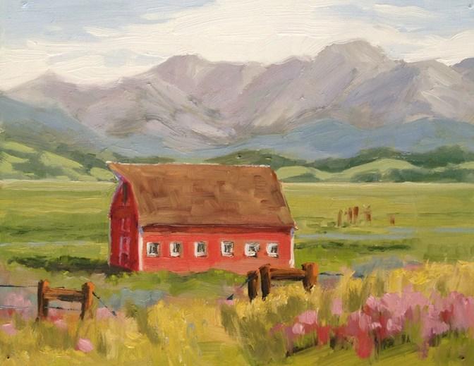 """The Red Barn"" original fine art by Deborah Newman"