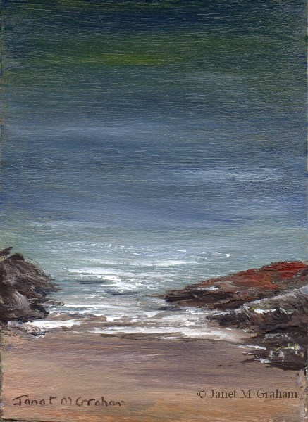 """""""Seascape 6 ACEO"""" original fine art by Janet Graham"""