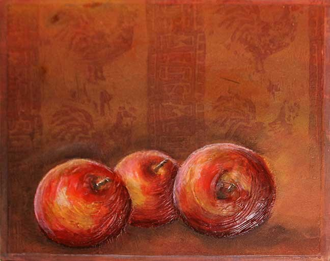 """Apples and Rooster"" original fine art by Kara Butler English"