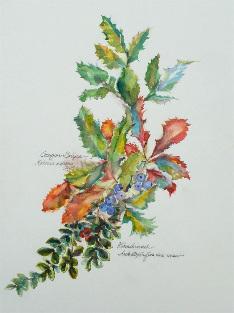 """Oregon Grape & Kinnikinnik"" original fine art by Jean Krueger"