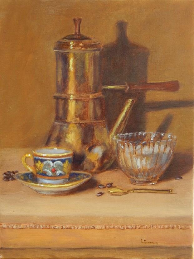 """""""Cafe con Sucro"""" original fine art by Lina Ferrara"""