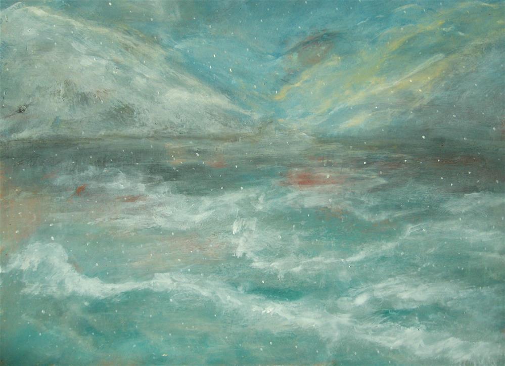 """Night Waves Snow"" original fine art by Alina Frent"