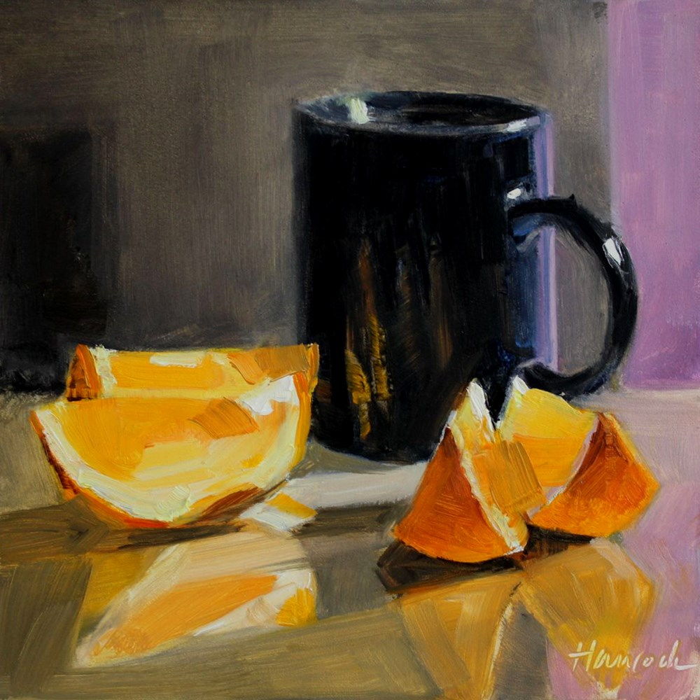 """Black Cup Orange Slices and Magenta Wall"" original fine art by Gretchen Hancock"