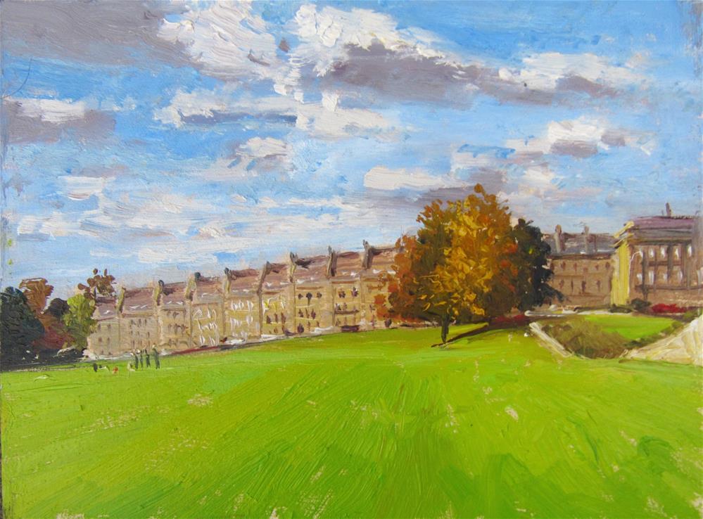 """City of Bath Landscape 12"" original fine art by Adebanji Alade"