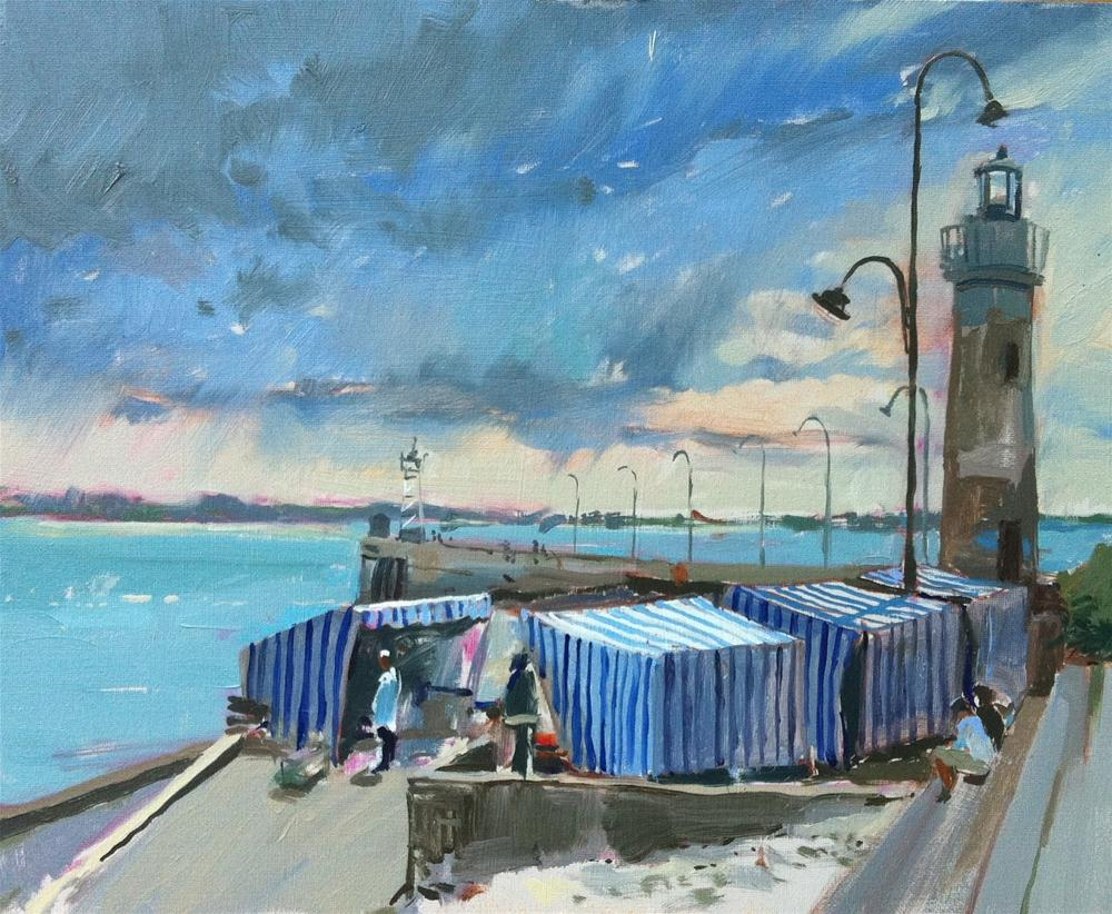 """""""Oyster sellers at Cancale"""" original fine art by Haidee-Jo Summers ROI"""