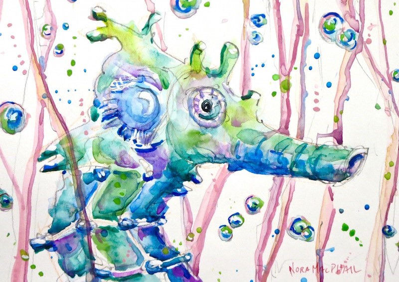 """Seahorse Charlie aka Magic Man"" original fine art by Nora MacPhail"