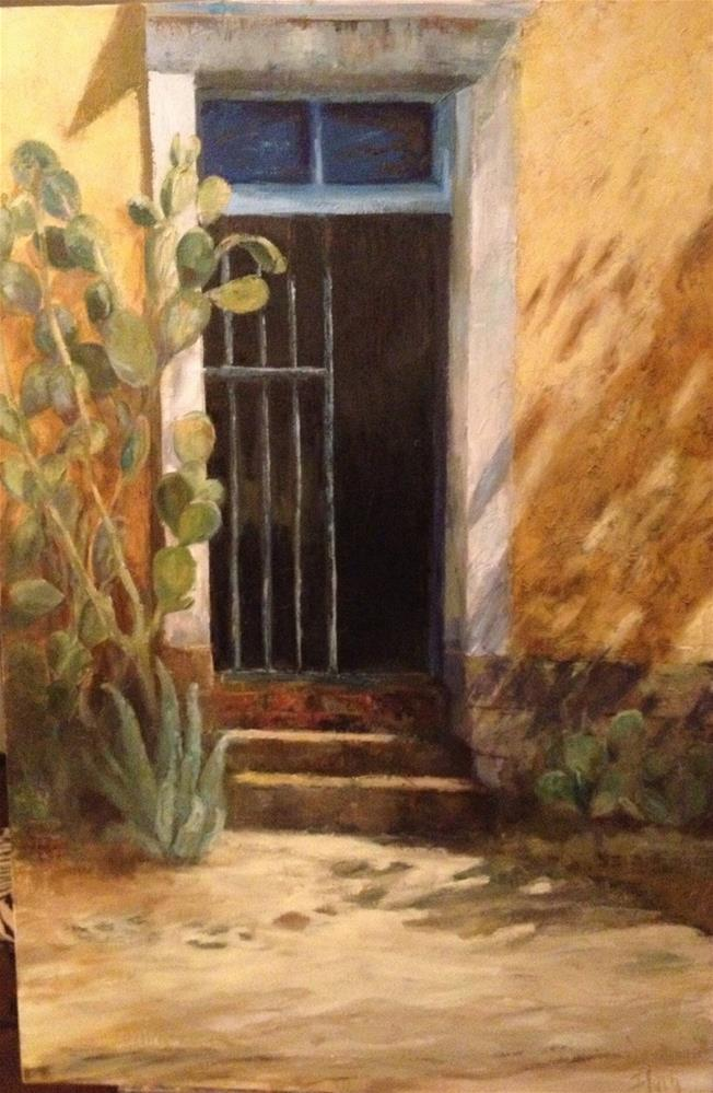 """Barrio Bars with Cactus"" original fine art by Barbara Fluty"