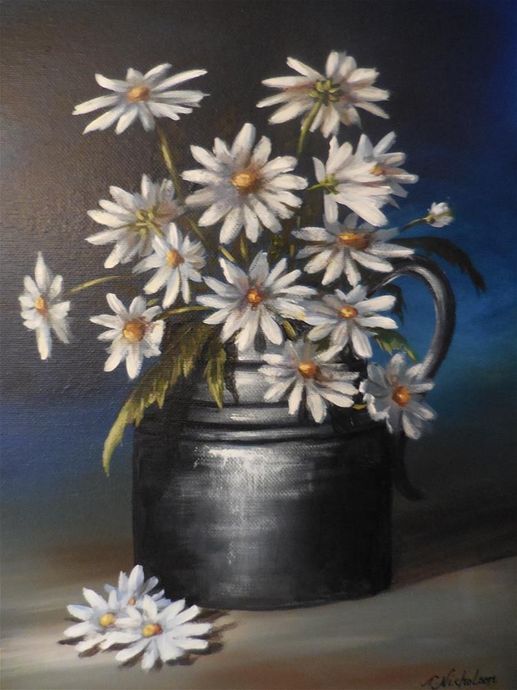 """Pot of Daisies"" original fine art by Terri Nicholson"