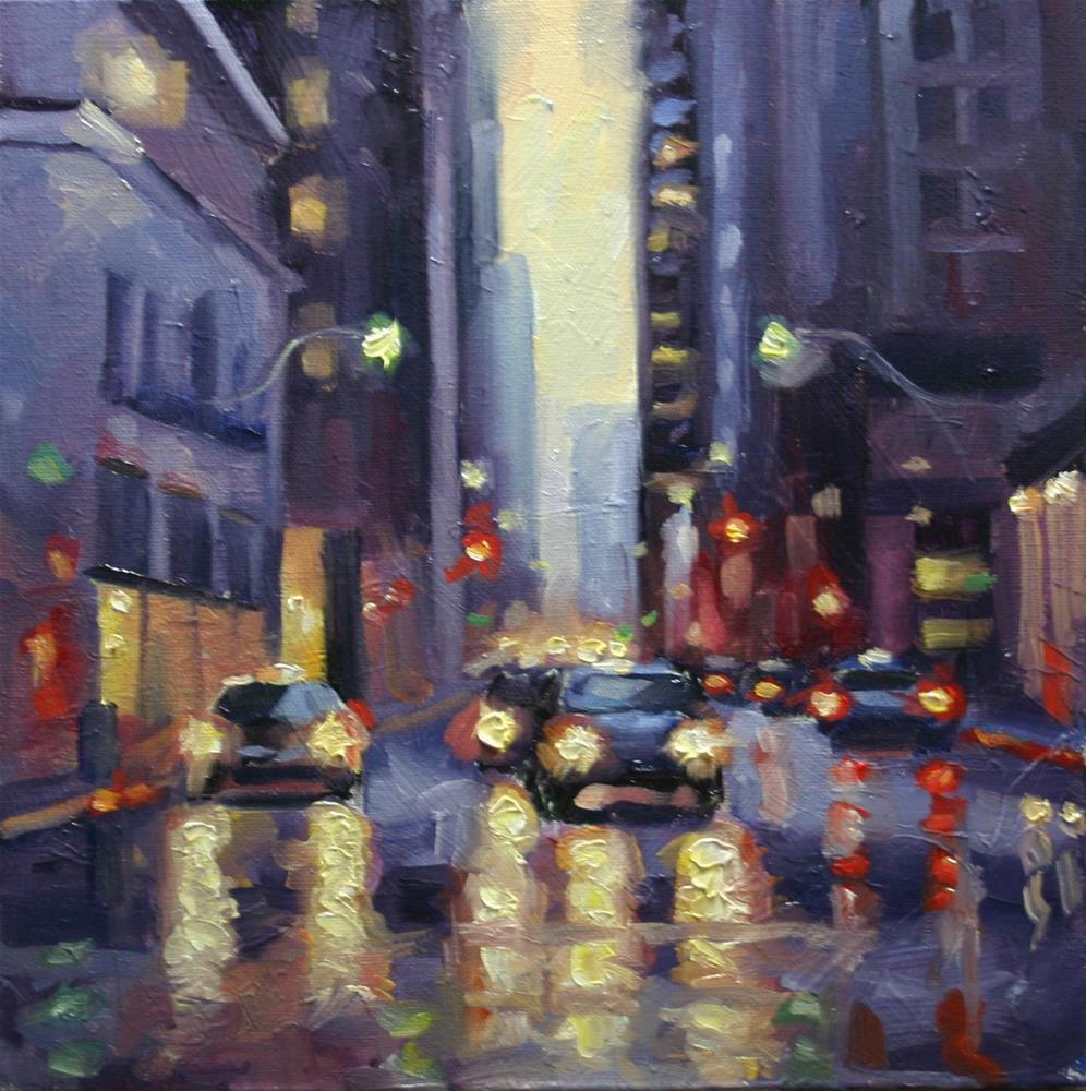 """""""Downtown Rain, Toronto"""" original fine art by Catherine Jeffrey"""