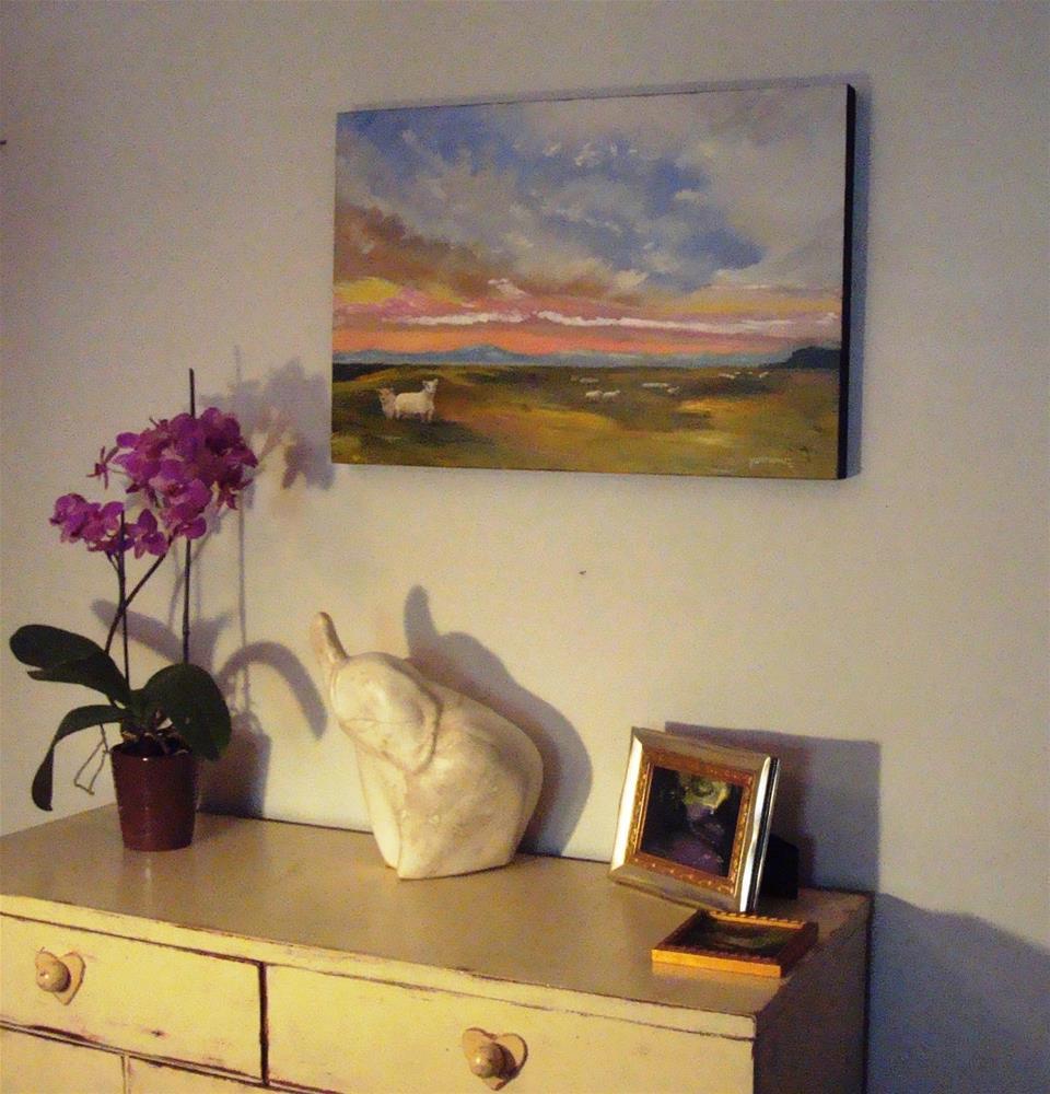 """ORIGINAL OIL LANDSCAPE PAINTING WITH SHEEP"" original fine art by Sue Furrow"