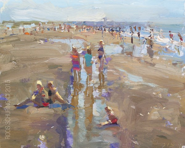 """Seascape Plein air Girls Pose"" original fine art by Roos Schuring"