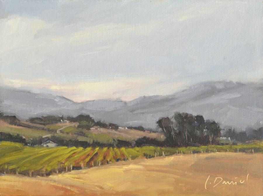 """Misty Vineyard"" original fine art by Laurel Daniel"