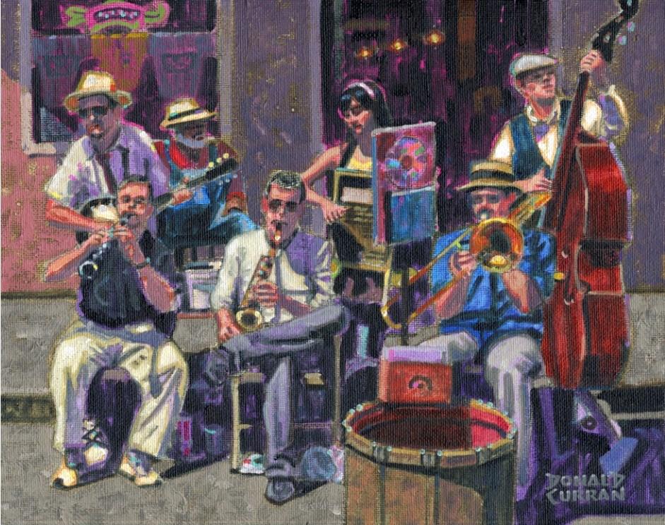 """New Orleans Jazz Band"" original fine art by Donald Curran"