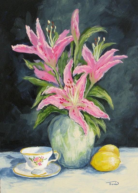 """Tea with Lilies"" original fine art by Torrie Smiley"
