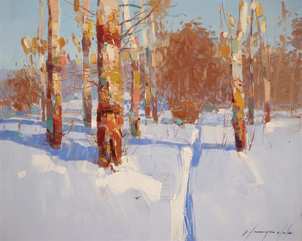 """""""Birches Grove, Winter Landscape oil Painting, One of a kind"""" original fine art by V Y"""