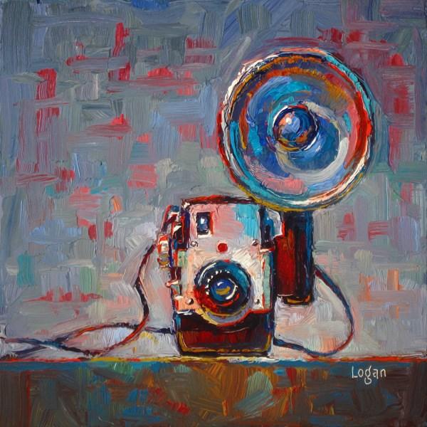 """Kodak Brownie Bull's Eye Camera with Flash"" original fine art by Raymond Logan"