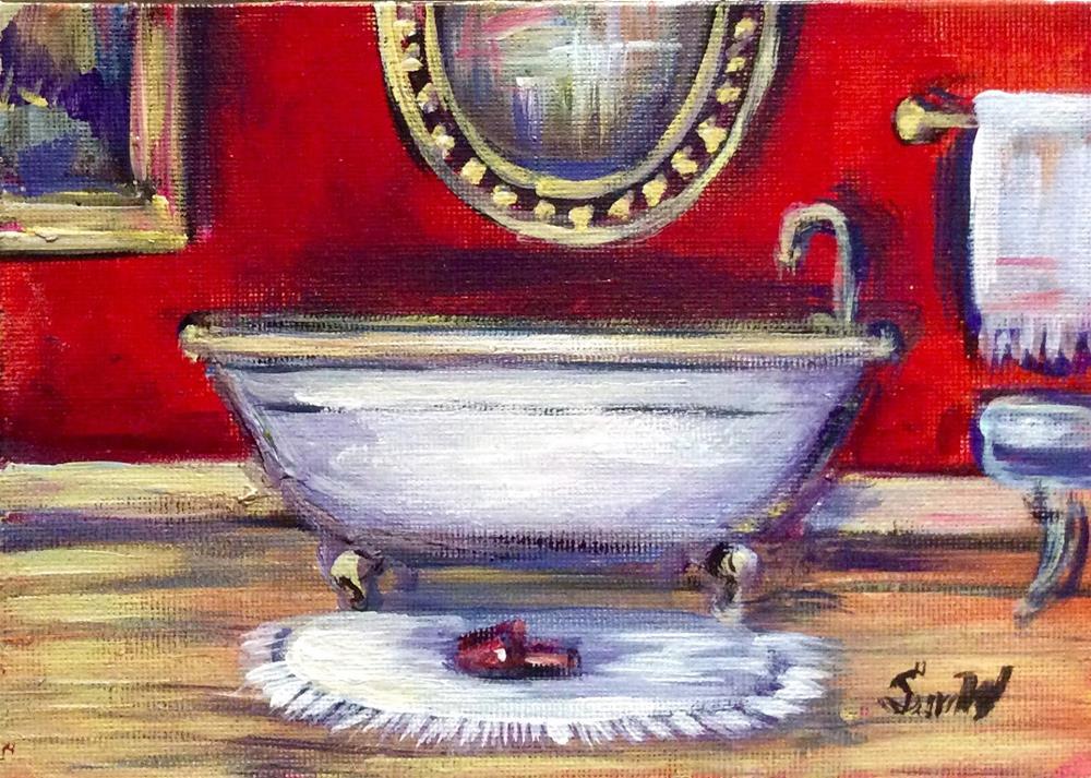 """Parisian bathroom painting"" original fine art by Sonia von Walter"