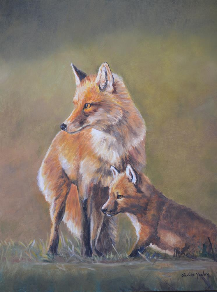 """""""Red Fox Parenting"""" original fine art by Charlotte Yealey"""