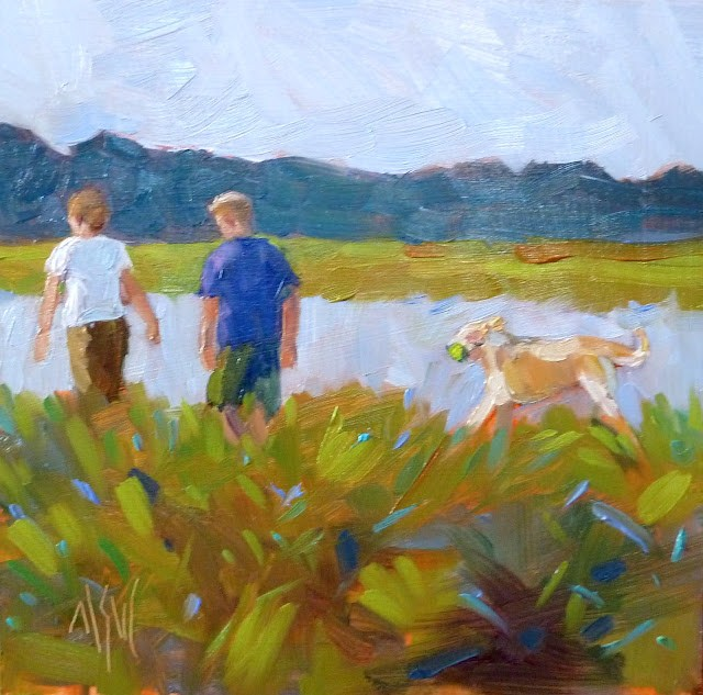 """""""Happy Anniversary 6x6 oil on panel. An anniversary gift from a wife to her husband. They frequently walk by the river with their yellow lab, Sam. He was delighted. Got tears in his eyes she told me ;)"""" original fine art by Mary Sheehan Winn"""