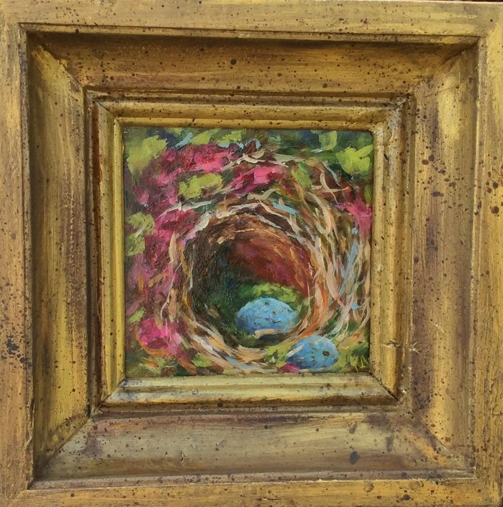 """""""feather your nest"""" original fine art by Susie Monzingo"""