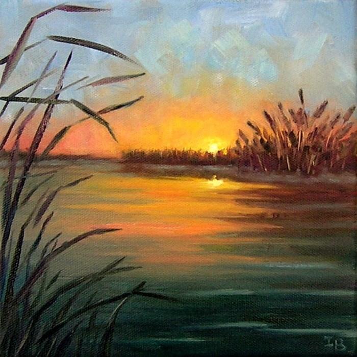 """Quiet Sunset"" original fine art by Irina Beskina"