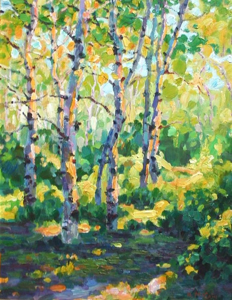 """aspen trees in summer"" original fine art by K.R. McCain"