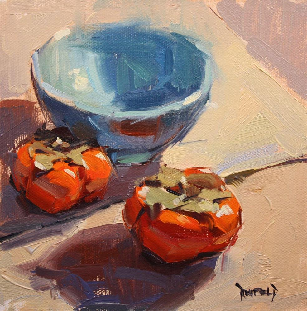 """""""Persimmons and Blue Bowl"""" original fine art by Cathleen Rehfeld"""