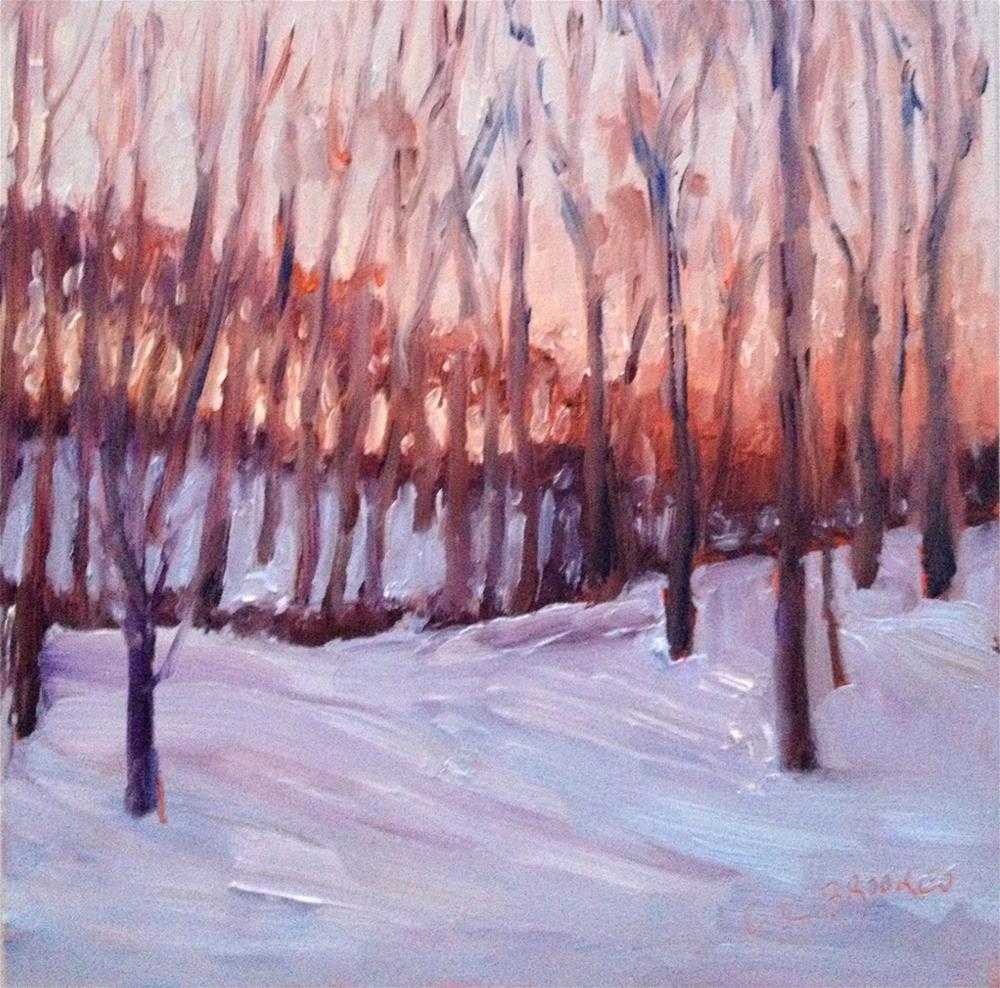 """Snowy Woods"" original fine art by Claudia L Brookes"