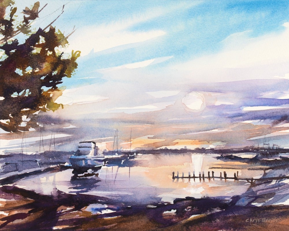 """Sunset at the Harbor"" original fine art by Chris Breier"