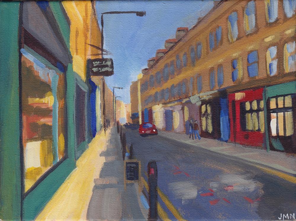"""Sunny London Street"" original fine art by J M Needham"