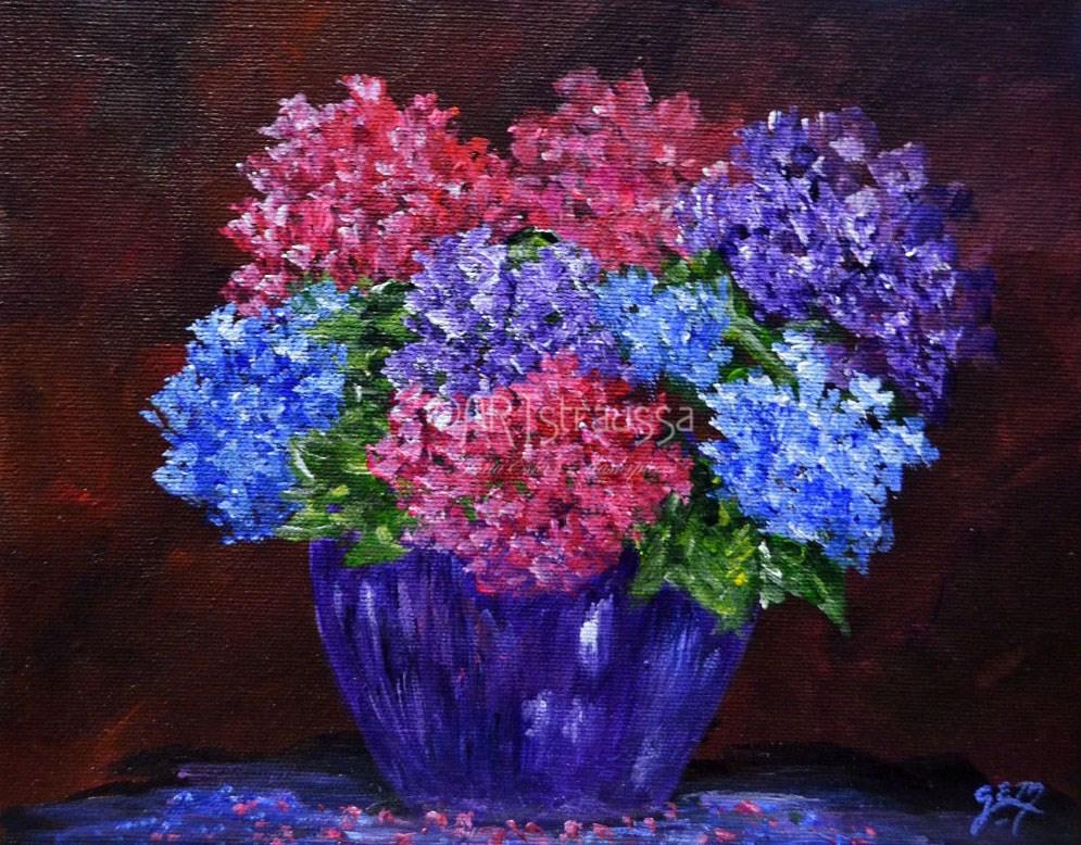 """""""SALE!!! Judith's Hydrangeas"""" original fine art by Gloria Ester"""