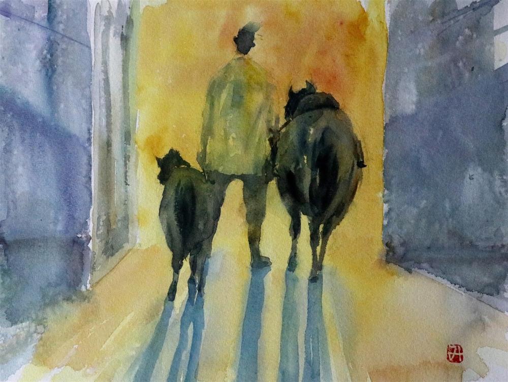 """""""The  Equestrian Club in Al Ain."""" original fine art by Midori Yoshino"""