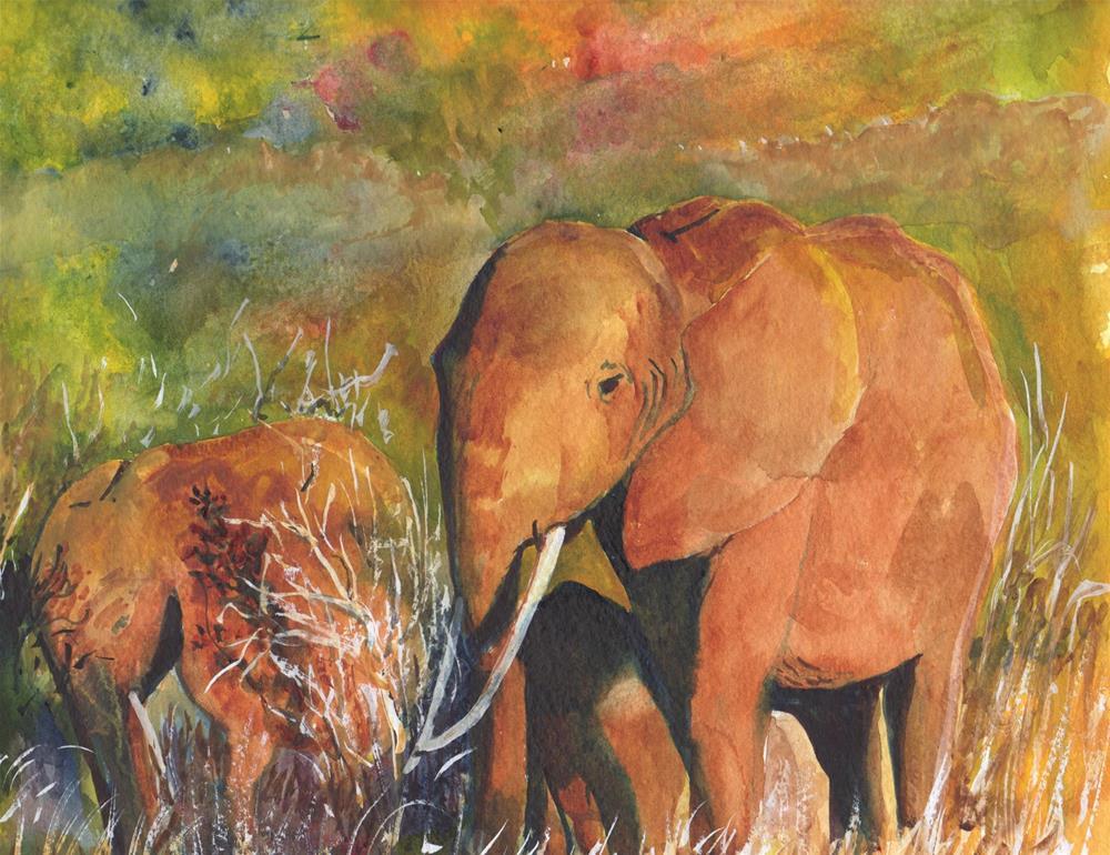 """African Elephants"" original fine art by Bunny Griffeth"