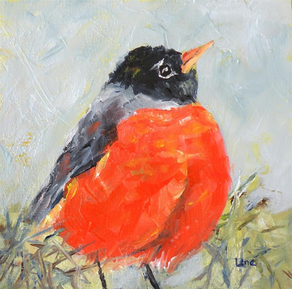 """ROBIN ORIGINAL OIL ON LIGHTLY TEXTURED CRADLED PANEL © SAUNDRA LANE GALLOWAY and NO PEEKING M"" original fine art by Saundra Lane Galloway"