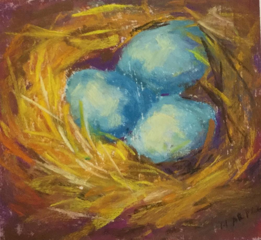 """Original robin egg nest pastel painting"" original fine art by Alice Harpel"