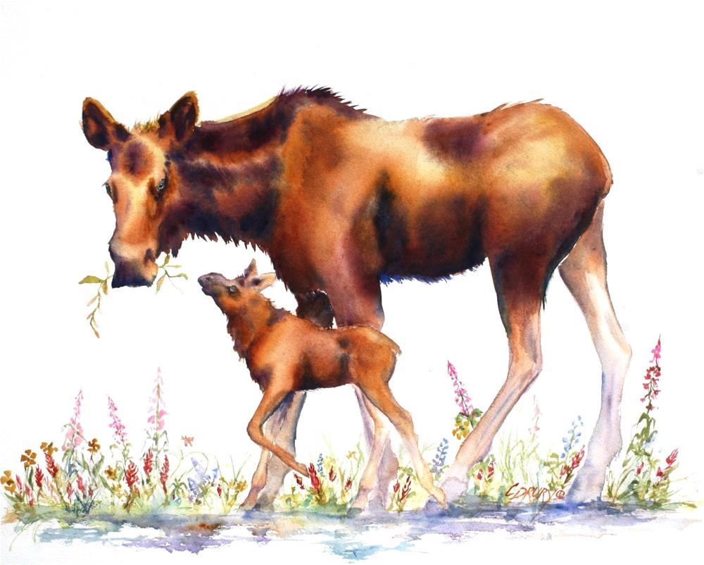 """Mama Moose"" original fine art by Colleen Drury"