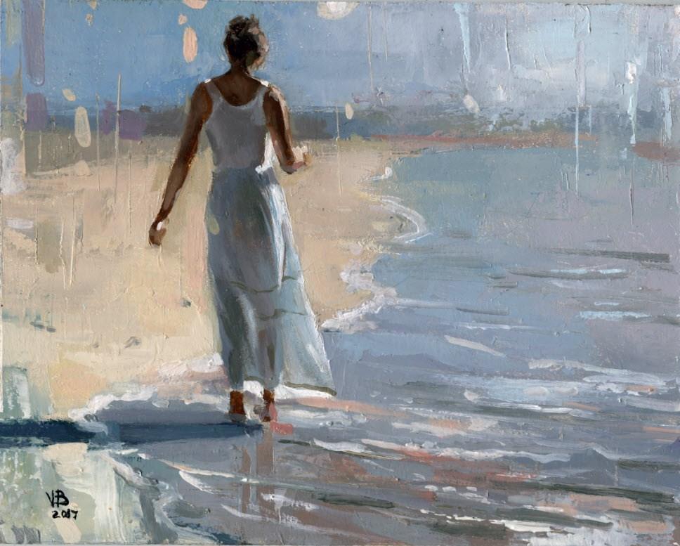 """Study for Grace Bay Beach"" original fine art by Victor Bauer"