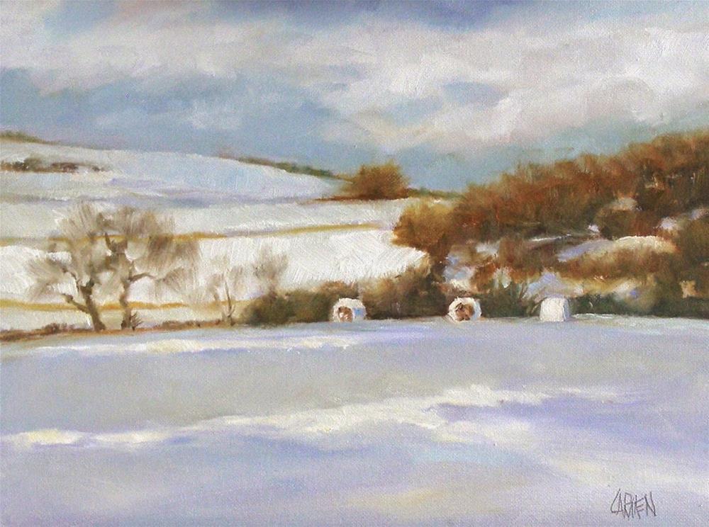 """Hay Bales in Snow, Original OIl Landscape"" original fine art by Carmen Beecher"