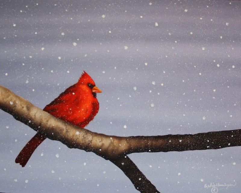"""Snow Cardinal"" original fine art by Fred Schollmeyer"