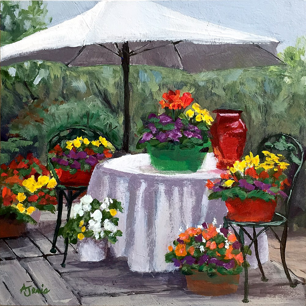 """Flowers on the Deck"" original fine art by Andrea Jeris"