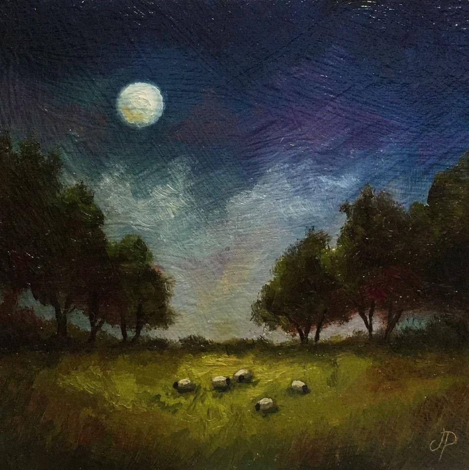 """Moontlit sheep"" original fine art by Jane Palmer"