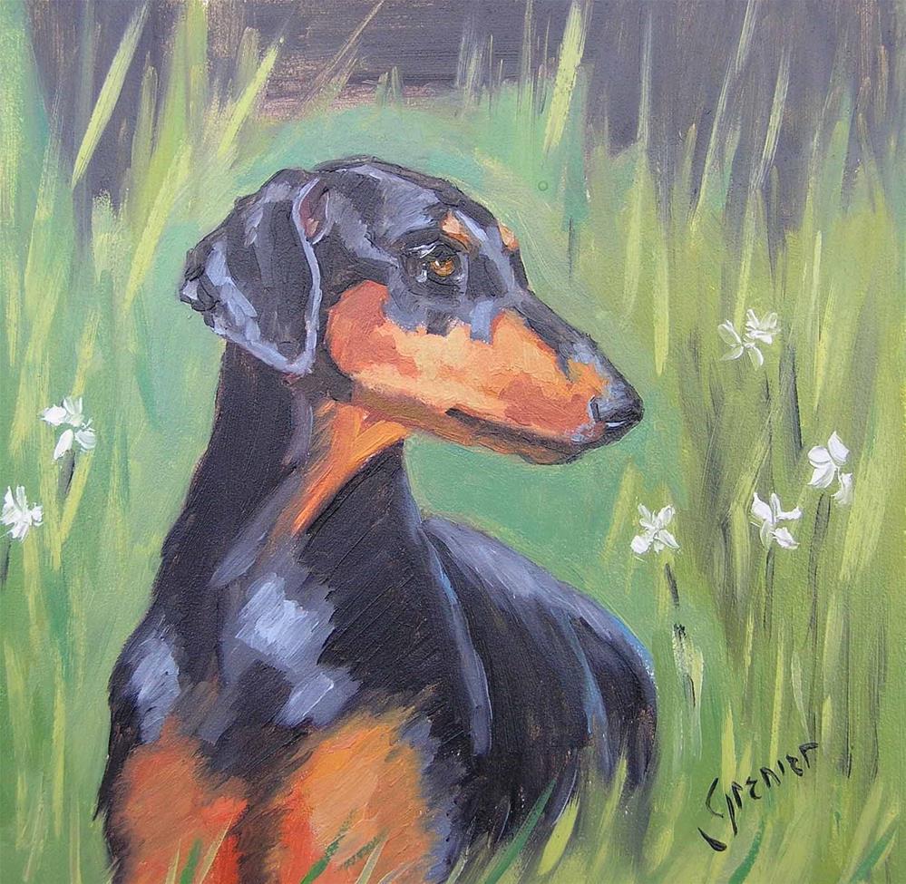 """original oil medea in the grass signed jean grenier"" original fine art by jean grenier"