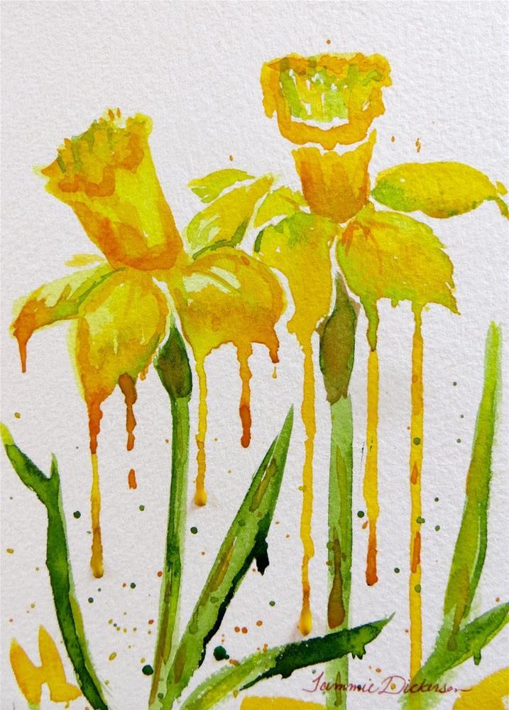 """Drippy Daffodils"" original fine art by Tammie Dickerson"